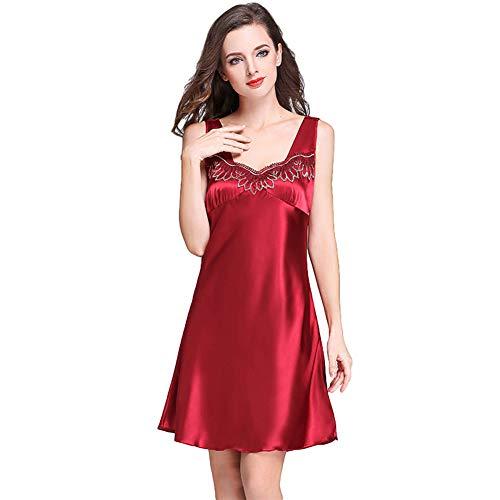 CROW Seidenpyjamas, mehrfarbige Strapsröcke, Feminine Homewear mit V-Ausschnitt, Nachtröcke, Nachthemden für Vier Jahreszeiten, Nachthemden für Damen, Nachtwäsche, Kleidung für Damenzimmer-C3-XXXXL