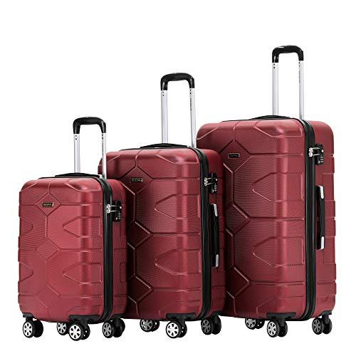 BEIBYE - TSA Schloß 2035 Hartschale Reisekoffer Koffer Handgepäck Trolley (Weinrot, Set)