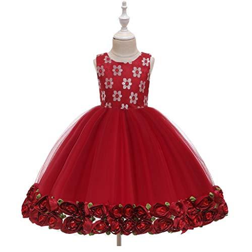 AIOJY Rose Puff Vestido sin Mangas 3D de Estaciones Chica Vestido de Boda del Florista de los nuevos niños del Hilado Chica del cumpleaños, Rojo,80cm