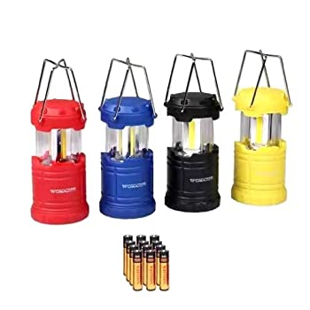 LED Lantern Mini 4 Pack Camping Lanterns with 12 AAA Battery Operated/Portable & Collapsible LED Camping Lantern for Kids/Hurricane/Camping/Emergency/Power Outage
