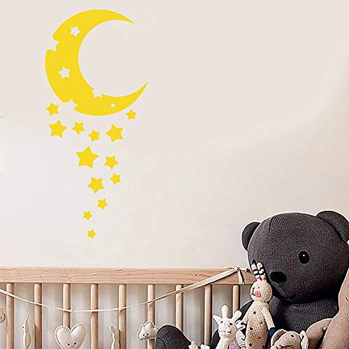 YuanMinglu Kinderzimmer Cartoon halbmond Sterne wandaufkleber wandaufkleber Kunststoff Aufkleber Schlafzimmer Dekoration Wohnzimmer Dekoration Kunst 37,5X85,5 cm