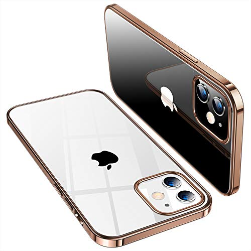 TORRAS Crystal Clear Compatible for iPhone 12 Case, Compatible for iPhone 12 Pro Case, [Non Yellowing][Easy to Hold] Slim Fit Ultra Thin Flexible TPU Shockproof Phone Cover, Glossy Gold