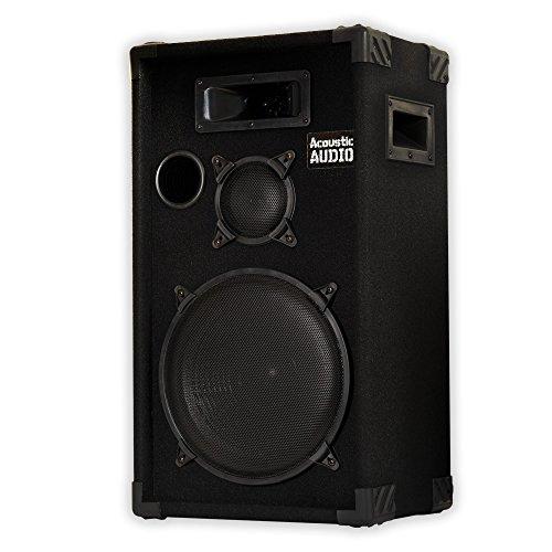 """Acoustic Audio by Goldwood CR12 PA Karaoke DJ 12"""" Speaker 500W 3 Way, Black"""