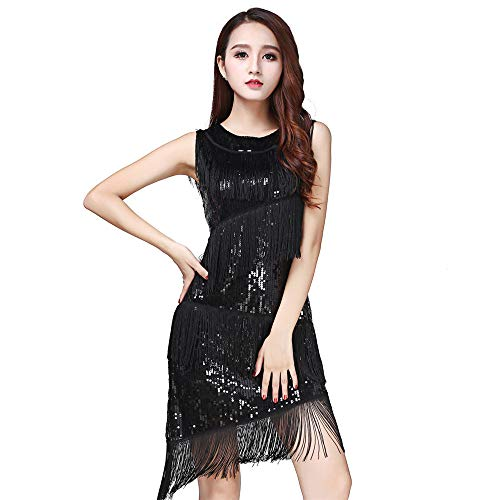 Uiophjkl Latin danskleding vrouwen dancewear pailletten franjes kwasten balzaal Samba Tango Latin Dance Dress wedstrijdkostuum Great Gatsby Themed Party Swing Dress