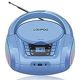 LONPOO Tragbare CD Player für Kinder Bluetooth CD Boombox mit UKW-Radio & USB