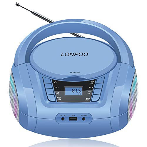 LONPOO Kids Portable CD Player Stereo Boombox with Bluetooth, FM Radio, USB Playback, AUX Input and 3.5mm Earphone Output (Blue)