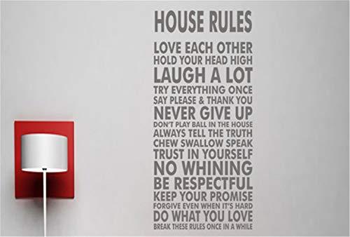 pegatina de pared frases Reglas de la casa Cartel Imprimir Imprimir Cartas Etiqueta Mural Decoración de arte para sala de estar