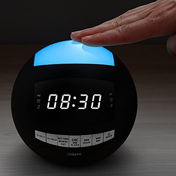 OnLyee Bluetooth Alarm Clock AM FM Radio AUX In Speaker Dimmer Dual USB Charging Ports 7 Color LED Night Light For Heavy Sleeper Bedrooms Desk Kitchen Kids Black