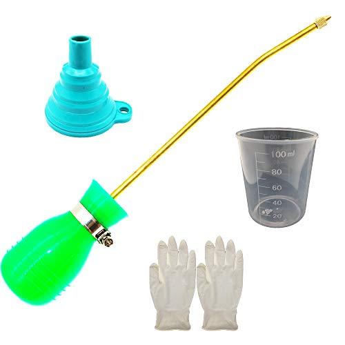 BITEYI Dispensador Aplicador de Insecticida en Polvo Antiinsectos Alimañas,Bombilla Tierra de Diatomeas Plumero Pulverizador (Verde)