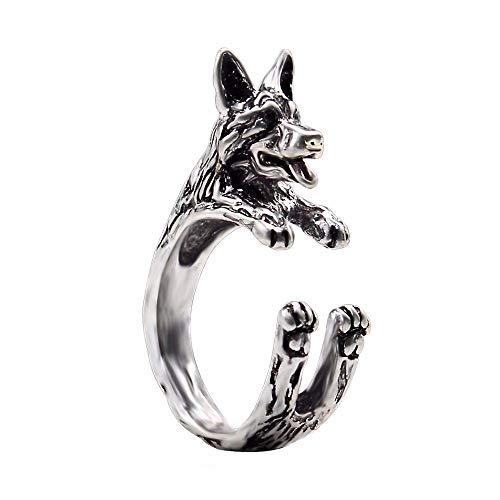 DGSDFGAH Ring Damen Zungenschüttelnder Hund Antike Weibliche Tier Serie Retro Ring Punk-Stil Fingerring Für Frauen, Um Tier Hund Maus Pferd Katze Ring Zu Umgeben