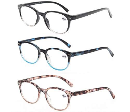 MODFANS (3 Pack) Lesebrille 2.5 Rund Damen,Gute Brillen,Hochwertig,Mode,Komfortabel,Super Lesehilfe,fur Frauen