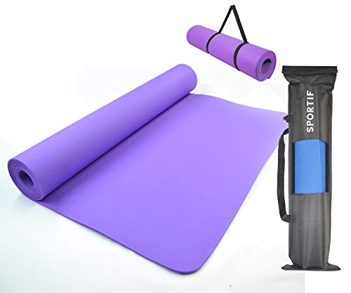 Sportif Non Slip Yoga Mat with Carry Bag for Home, Outdoor, Gym Workouts Exercise (4mm) Made in India (Lavender Purple)