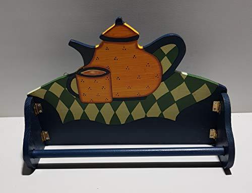 Testrut Portarotolo da cucina vintage in legno con motivo caffettiera ca. 32 x 23 cm con gancio