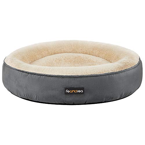 FEANDREA Hundebett, Katzenbett, Donut, Ø 70 cm, dunkelgrau PGW070G02