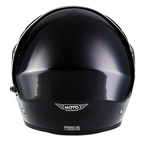 MOTO F19 Gloss Black · Roller-Helm Integral-Helm Helmet Cruiser Klapp-Helm Modular-Helm Motorrad-Helm Scooter-Helm Sturz-Helm Flip-Up-Helm · ECE zertifiziert · zwei Visiere · inkl. Stofftragetasche · Schwarz · L (59-60cm) - 9