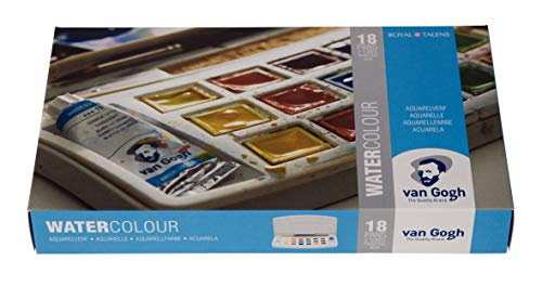 Van Gogh Watercolor Paint Set, Plastic Pocketbox, 18-Half Pan + 2x10ml