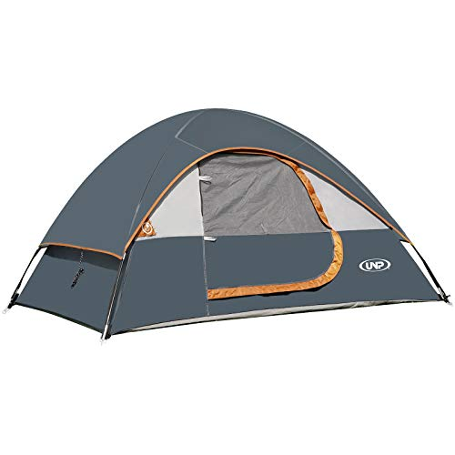 unp Camping Tent 2 Person-Grey- Lightweight with Rainfly Easy Set-up Portable-Dome-Waterproof-Ideal for Outdoor Activities, Beach, Backyard Tent