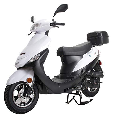 X-PRO Maui 50cc Moped Scooter Gas Moped Scooter Motorcycle 50cc Adult Scooter Aluminum Wheels(White)
