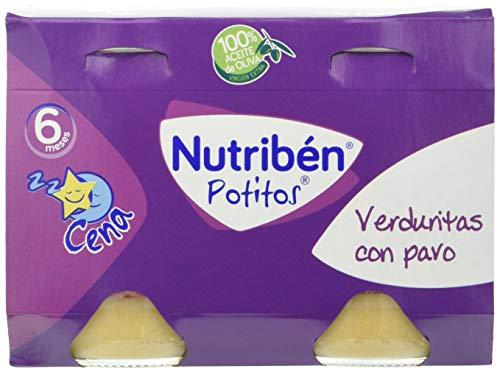 Nutribén Potitos Cena De Verduritas Con Pavo Desde Los 6 Meses, 4 Bipacks (8 X 190 Gr.)