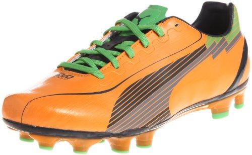 Puma evoSPEED 4 FG Hombre Botas de fútbol - Negro Rojo-Orange-42.5