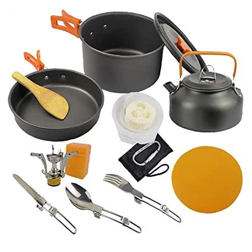 Artículos para Cocinar Acampar Copas del Kit Lío Placas Forks Cuchillos Cucharas para Acampar, con Mochila, Cocinar Al Aire Libre Y Picnic Naranja
