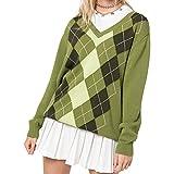 Mujeres Y2k Argyle suéter de manga larga de punto superior indie ropa estética cuello redondo sudadera otoño suéter 90s Streetwear, Tartán verde, M