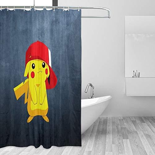 Pokemon Pikachu Duschvorhang, Duschvorhang, niedliches buntes Design, wasserdichter Stoff, Badezimmer-Duschvorhang-Set mit 12 Haken, 167,6 x 182,9 cm