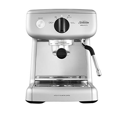 Sunbeam EM4300S Mini Barista Coffee Machine | Espresso, Latte & Cappuccino Coffee Maker | 2L Water Tank | Milk Frother | 15 Bar Italian Pump | Silver