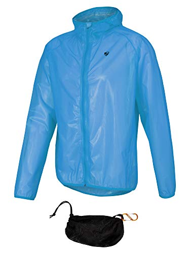 Ziener Nonno Veste de Pluie pour Homme – Veste de Cyclisme, extérieur – Étanche – Respirante – Super légère L Bleu Clair