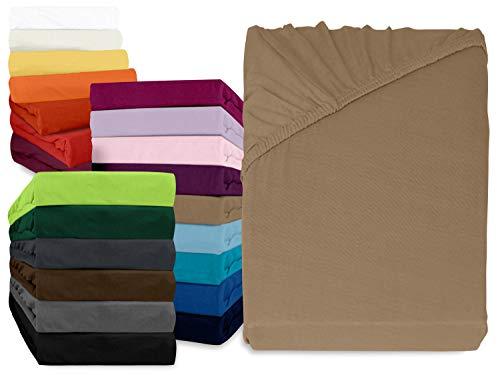 npluseins klassisches Jersey Spannbetttuch - erhältlich in 34 modernen Farben und 6 verschiedenen Größen - 100% Baumwolle, 70 x 140 cm, Sand