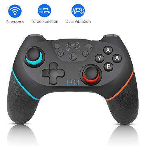 Manette Compatible pour Nintendo Switch, Bluetooth Manette sans Fil Switch Pro, Switch Controller avec 6-Axis Gyro/ Turbo/ Double Moteur pour Switch Lite/ Pro et PC