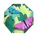 Regenschirm für Damen, Mädchen, Männer, automatisches Öffnen, Schließen, kleine Tragetaschen, 3 faltbar
