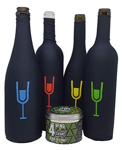 Set de 4 Fundas para cata a ciegas. Bote metálico - Cata de vinos - Accesorio para Vino