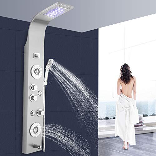 Panel de ducha de acero inoxidable cepillado 304, con 5 funciones, ducha de lluvia, cascada, boquillas de masaje y ducha de mano, juego de ducha con panel LED