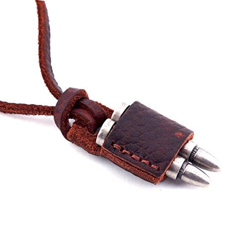 DonDon - Collana da uomo in pelle con diversi ciondoli selezionabili, in un sacchetto nero e Lega, colore: Cartucce, cod. CD02