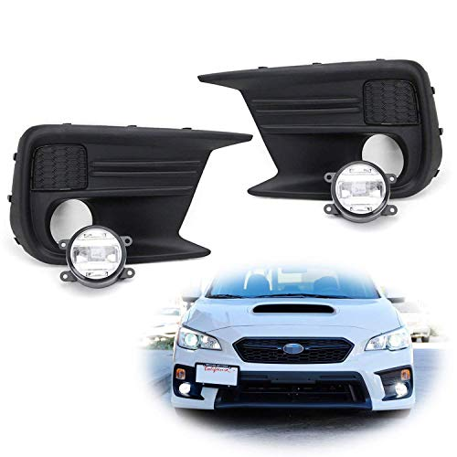 iJDMTOY Clear Lens LED Fog Light Kit Compatible With 2018-up Subaru WRX & STi, Includes (2) CREE XB-D Projector Foglamps, LH RH Fog Light Bezels & Wiring Harness