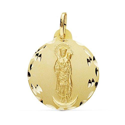Medalla Oro 18K Virgen Almudena 22mm. [Ab0778]