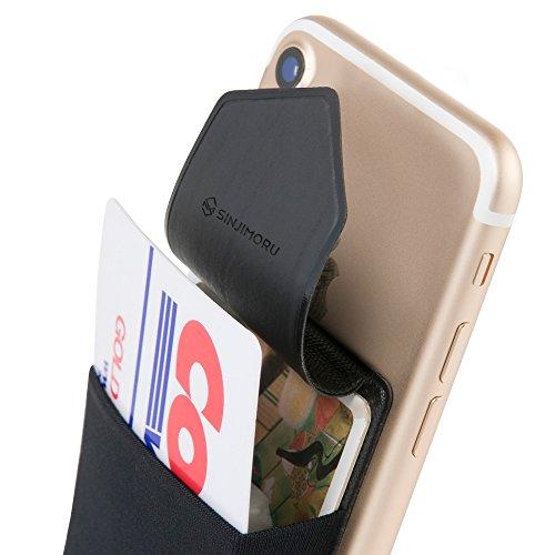 Sinjimoru Handy Kartenetui für Kreditkarten & Bargeld, Slim Wallet Smartphone Kartenhalter zum aufkleben ID Card Holder für iPhone und Android, Sinji Pouch Flap Schwarz.