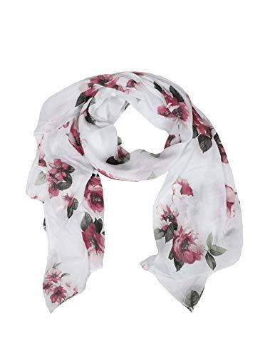 Zwillingsherz Seiden-Tuch Damen Blumen Muster - Made in Italy - Eleganter Sommer-Schal für Frauen - Hochwertiges Seidentuch/Seidenschal - Halstuch und Chiffon-Stola Dezent Stilvoll weiß