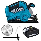 1680W Circular Saw Cordless with 185mm Circular Saw Guide Blades & 1 x 6000 mAh Battery Power Saws Set for Wood, Metal & Plastic