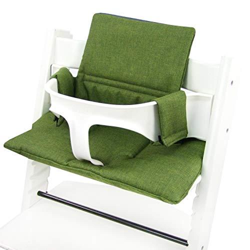 BAMBINIWELT Vervangende overtrek, kussenset voor hoge stoel/kinderstoel Stokke Tripp Trap, stoelverkleiner (meliert origineel), MELIERT dunkelgrün ORGI.