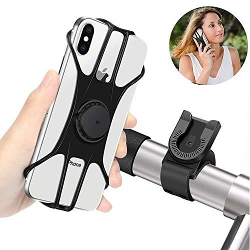 BAONUOR Handyhalterung Fahrrad, Abnehmbare handyhalter Fahrrad Face ID/Touch ID kompatibel, 360°drehbar, Universal Motorrad/Fahrrad Silikon Handy Halter, für 4-6 Zoll Smartphone,MTB Handy Halterung