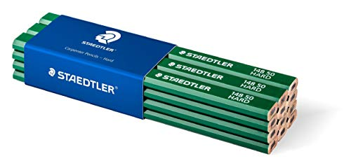 Staedtler Carpenter Pencils 148 50. Conjunto de 12 lápices para carpinteros de dureza alta 6H.
