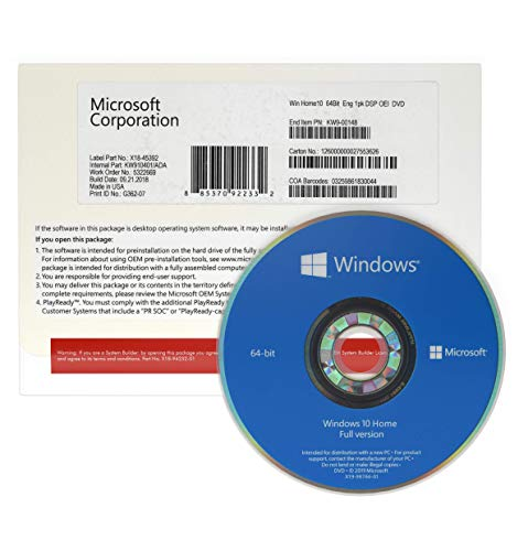 Windows 10 Home 64 bits OEM | DVD | Windows 10 Famille 64 bits | Système d'exploitation 64 bits | License Français