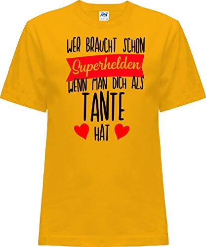 Kleckerliese T-shirt à manches courtes pour enfant Motif Nicki avec motif qui a besoin de super-héros quand on vous a le sentiment de tante - Jaune - 2 ans