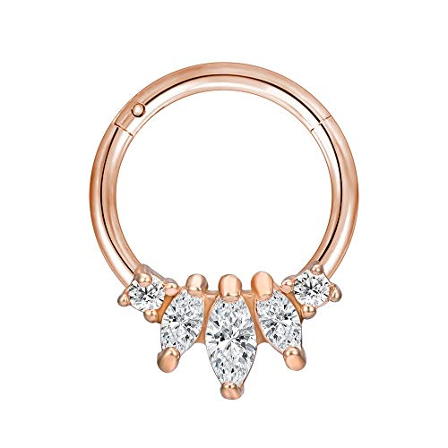 LZZR 1PC Brass Septum 20G Nose Rings Earrings Conch Rook Body Jewelry (Color : I Rose Gold, Size : 6mm)