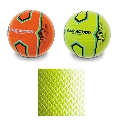 Mondo Toys - Pallone da Beach Volley FLUO ACTION - size 5 pallavolo - 280 g - Colore giallo / arancione fluorescente - 13867