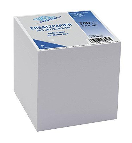 Wedo 27026500 Ersatzpapier (für Zettelbox, holzfrei, 9 x 9 cm, 700 Blatt) weiß