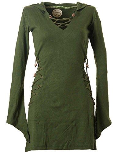 Vishes - Alternative Bekleidung - Elfenkleid mit Zipfelkapuze und Bändern zum Schnüren Olive 36-38 (XS)