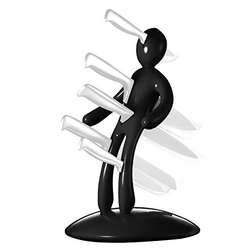 Juego de Bloques de Cuchillos de Cocina, Soporte de Bloque de Cuchillos humanoide de Acero Inoxidable, Juego de Cuchillos de Acero Inoxidable de Primera Calidad con Soporte único, Paquete de 5